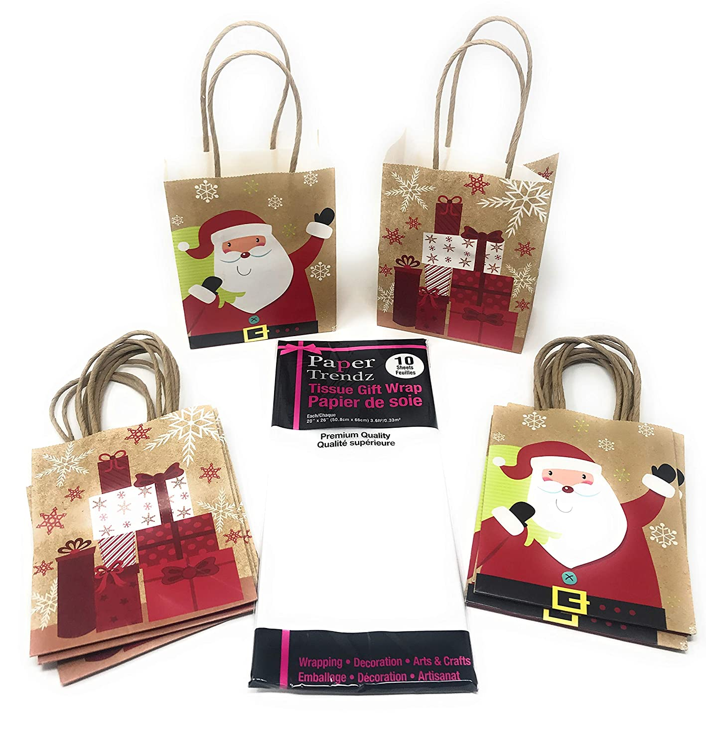 Christmas Gift Bag Bundle Set - Includes 12 Small Bags (2 styles) + 1 Pack of White Tissue Paper Various