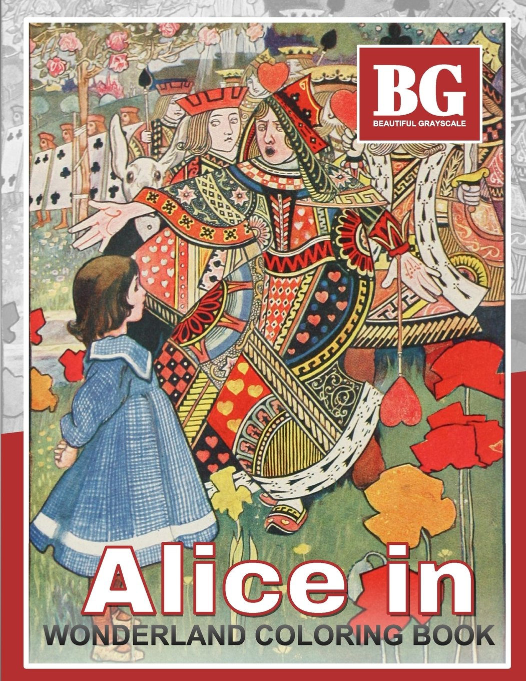 Beautiful Grayscale Alice in Wonderland Coloring Book: Fun and Realistic Photo Coloring for Kids and Adults