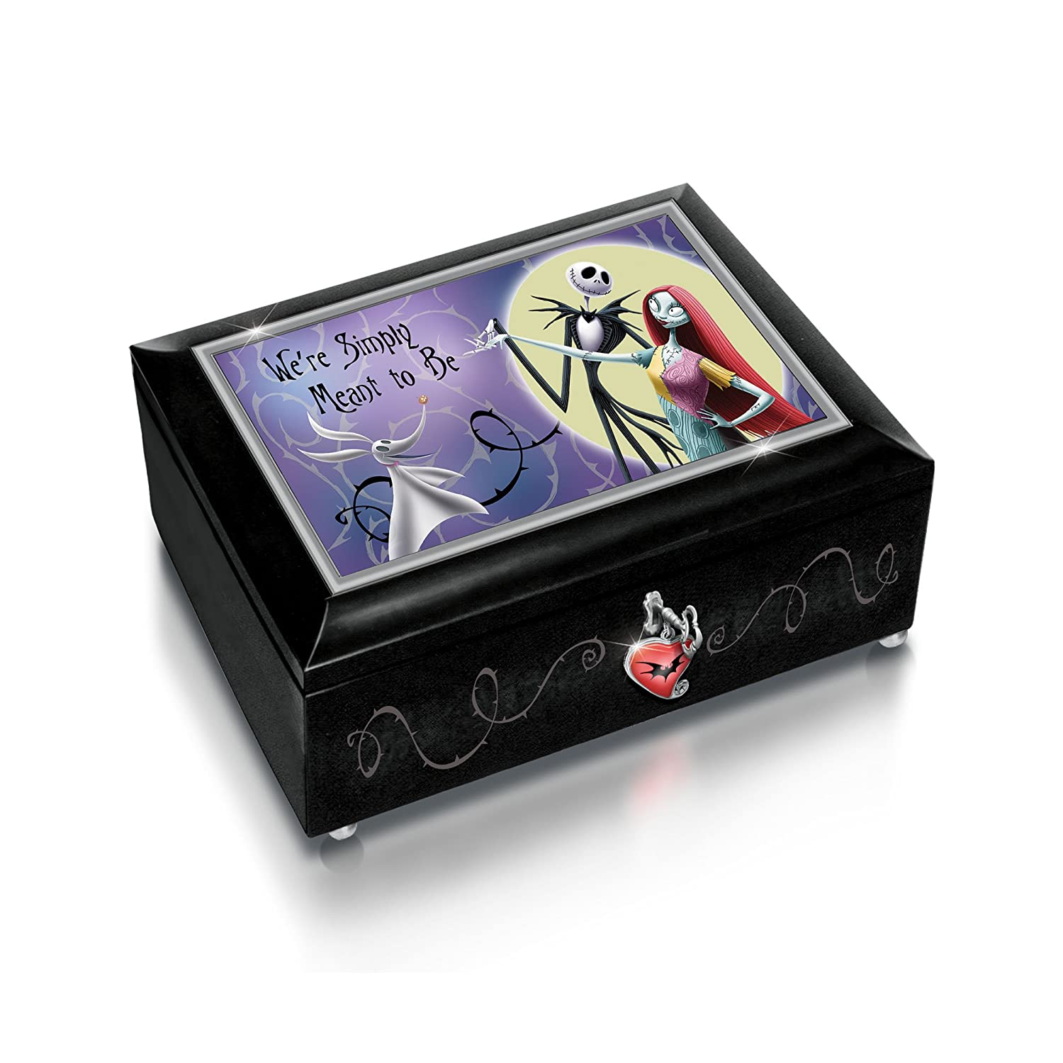 The Bradford Exchange 'The Nightmare Before Christmas' Heirloom Music Box - Illuminated - Glass Lid - Plays 'Overture'