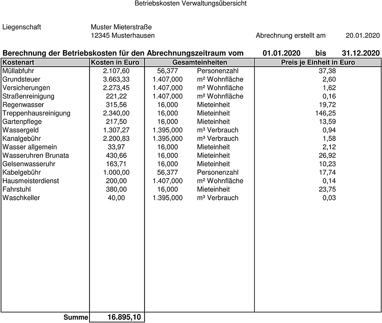 Betriebskosten Abrechnung Mit Excel Download Freeware De 10