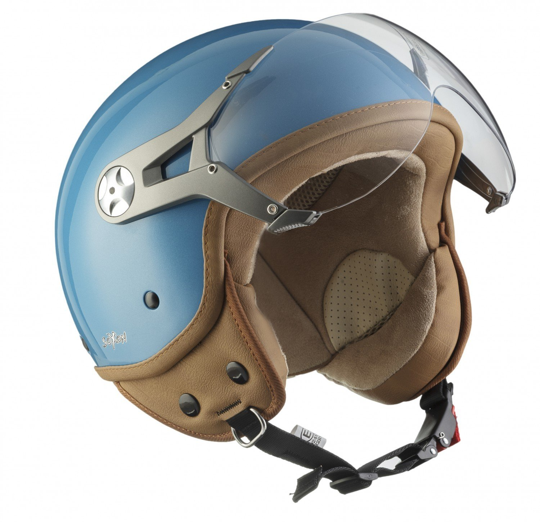 SOXON SP-325-MONO Titan · Bobber Vespa Pilot Casque Jet Chopper Retro Scooter Moto Mofa Demi-Jet Cruiser Helmet Biker Vintage · ECE certifiés · visière inclus · y compris le sac de casque · Gris · M (