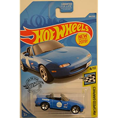 Hot Wheels '91 Mazda MX-5 Miata Blue 184/250 HW Speed Graphics Series 1:64 Scale Collectible Die Cast Model Car: Toys & Games