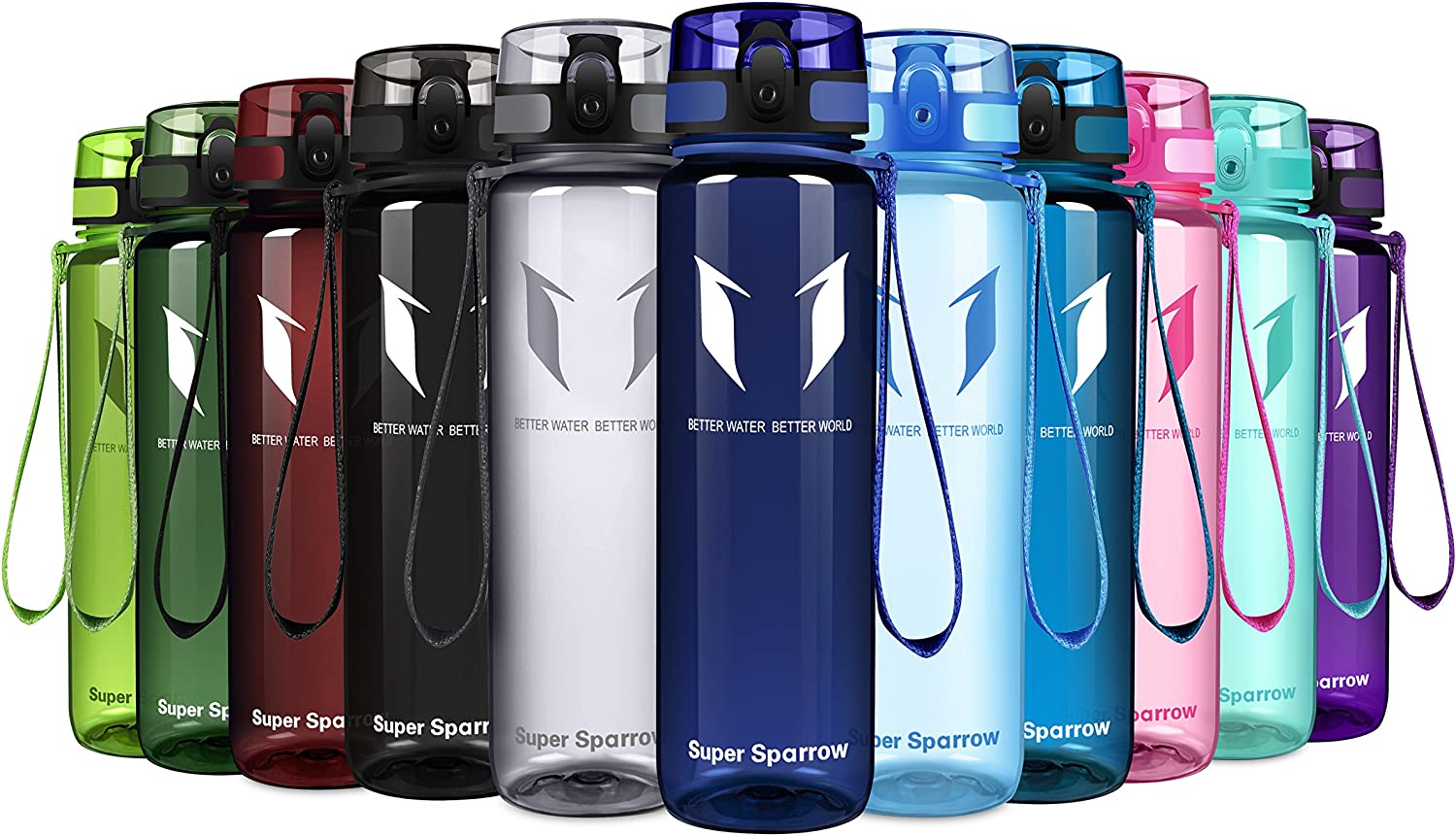 Opens with 1-Click Flip Top Fast Water Flow Super Sparrow Sports Water Bottle Multi-Size BPA Free /& Eco-Friendly Tritan Co-Polyester Plastic