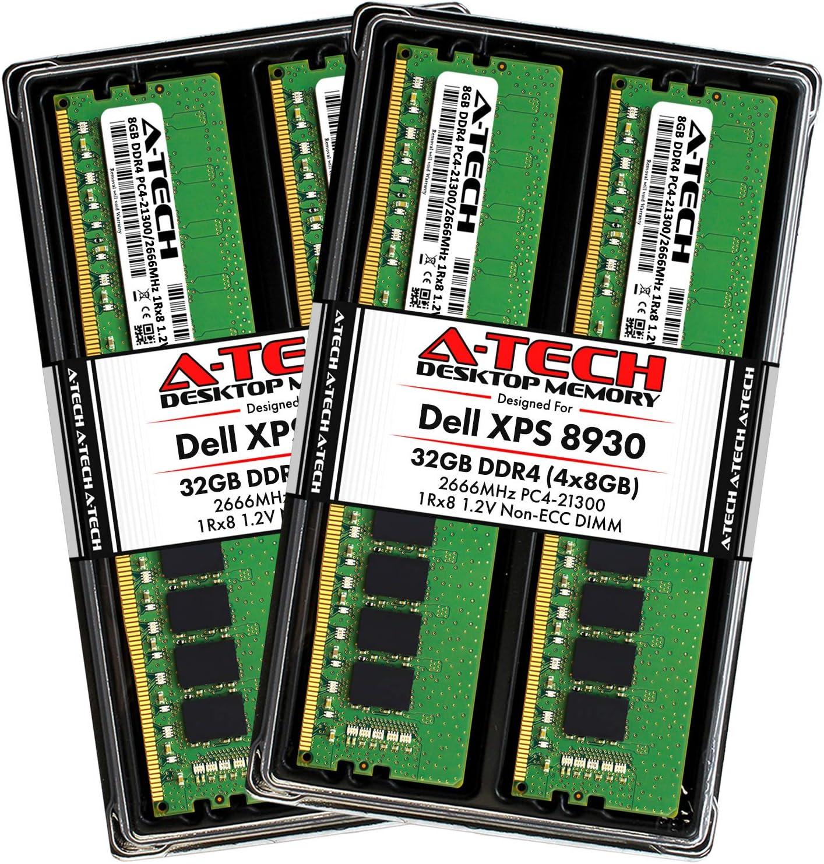A-Tech 32GB RAM Kit for Dell XPS 8930 Tower - (4 x 8GB) DDR4 2666MHz PC4-21300 Non-ECC DIMM Desktop Memory Upgrade
