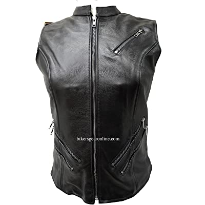 Dream Motorcycle Ladies Front Zipper Cow Hide Leather 7 Pocket Euro Collar Vest
