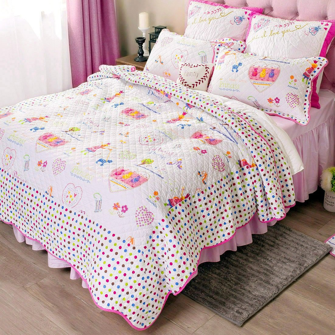 White and Pink Girls Comforter Set Kids Cartoon Bed Quilt Set