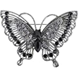 Alilang Antique Inspire Grey Silvery Tone Crystal Rhinestones Butterfly Pin Brooch
