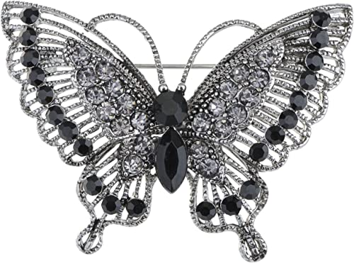 Silver Tone Hot Red Crystal Filigree Butterfly Brooch