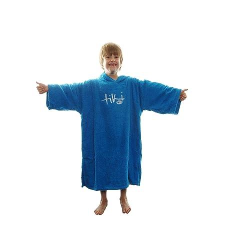 4ce2000a16 Tiki Kids Junior Hooded Towelling Changing Change Robe Beach Swim Poncho  Blue  Amazon.co.uk  Sports   Outdoors
