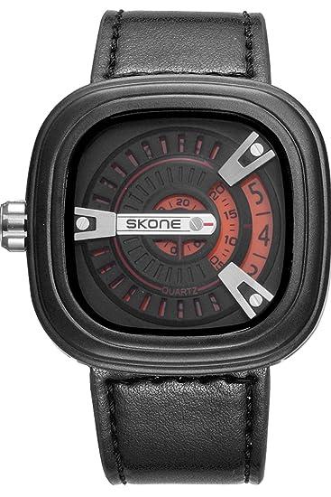 loluka Militar Simple para hombre relojes diseño cuadrado único Causal de cuarzo deporte banda de piel negro: Amazon.es: Relojes