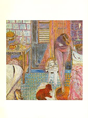 Amazon Com 1969 Vintage Bonnard Nude In Bathroom Cabinet Toilette