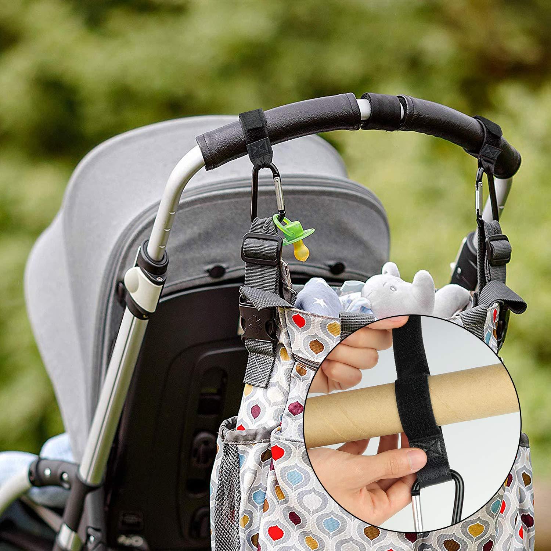 Accessoire Poussette Bebe ZOYJITU Accessoires pour Si/ège Auto 4 Pack Clip Poussette Universelle 2 Pack Crochets Poussette Sac Mousqueton Avec Fermeture Velcro