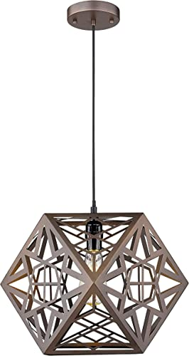 Industrial Pendant Light, VICNIE 15.7 inches Geometric Chandelier Cage Hanging Light, Oil Rubbed Bronze Finished with Adjustable Height