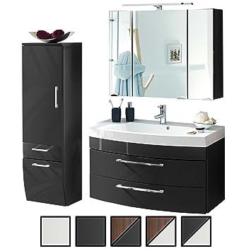 Badmöbel Set Verona Medium Anthrazit 3 Tlg Spiegelschrank 90 Cm Led Beleuchtet Waschtisch Unterschrank 100 Cm Mit 2 Schubladen Bad Hochschrank 40