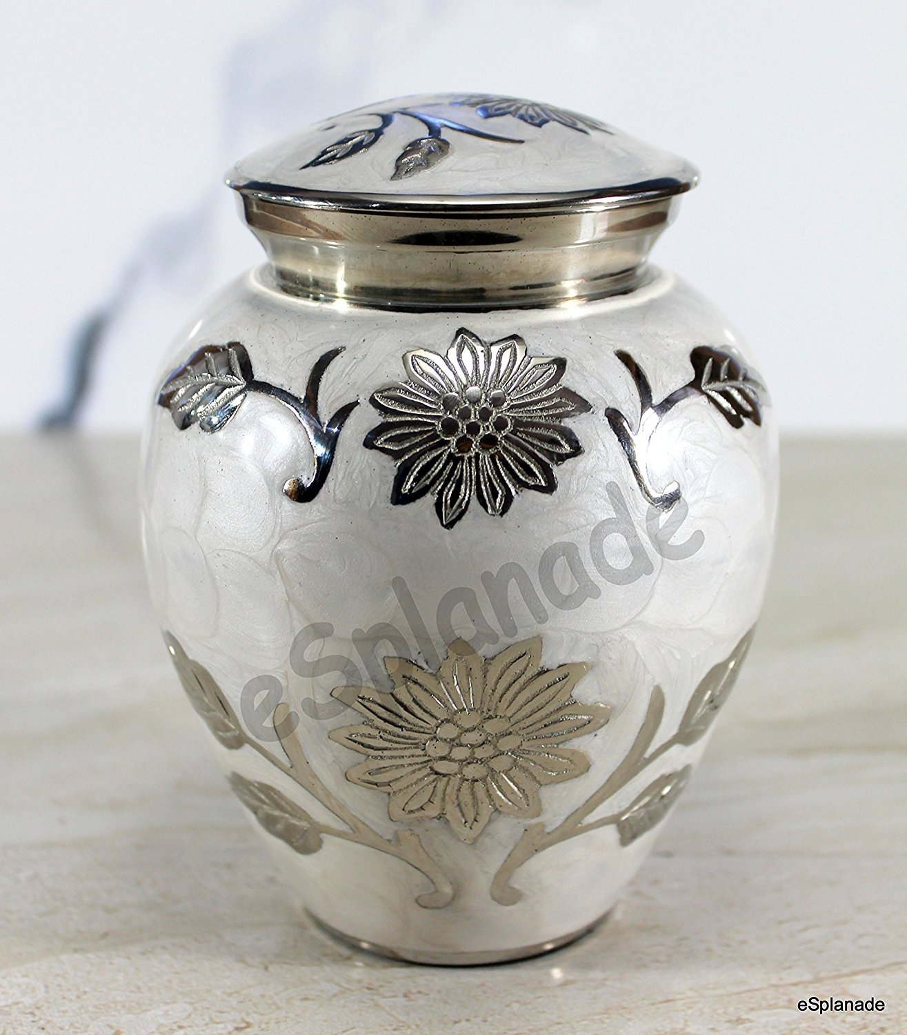 eSplanade Cremation urn Memorial Container Jar Pot | Metal Urns | Burial Urns | Brass Urns. StonKraft