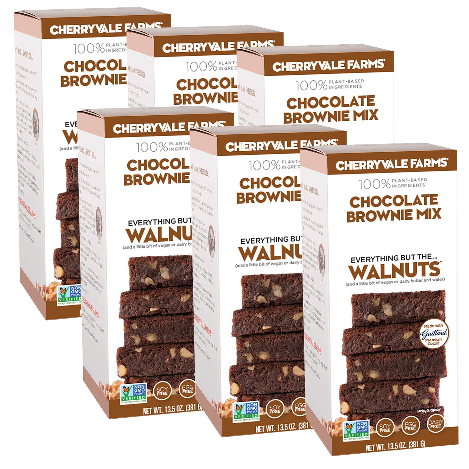Cherryvale Farms, Chocolate Brownie Baking Mix, Everything But The Walnuts, Add Fresh Produce, Tastes Homemade, Non-GMO, Vegan, 100% Plant-Based, 13.5 oz (pack of 6)