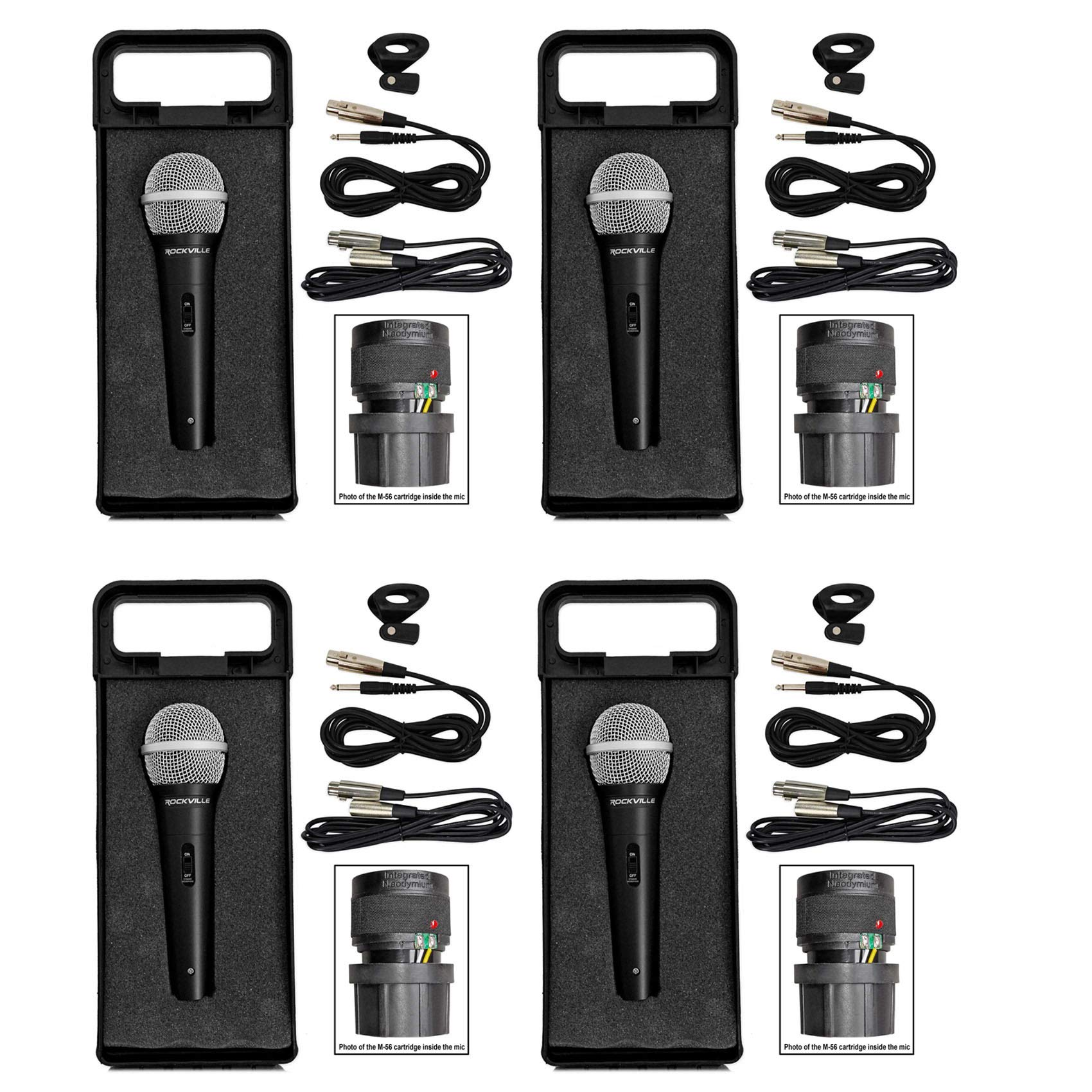 4 Rockville RMC-XLR Dynamic Cardioid Professional Metal Microphones W/XLR Cable by Rockville