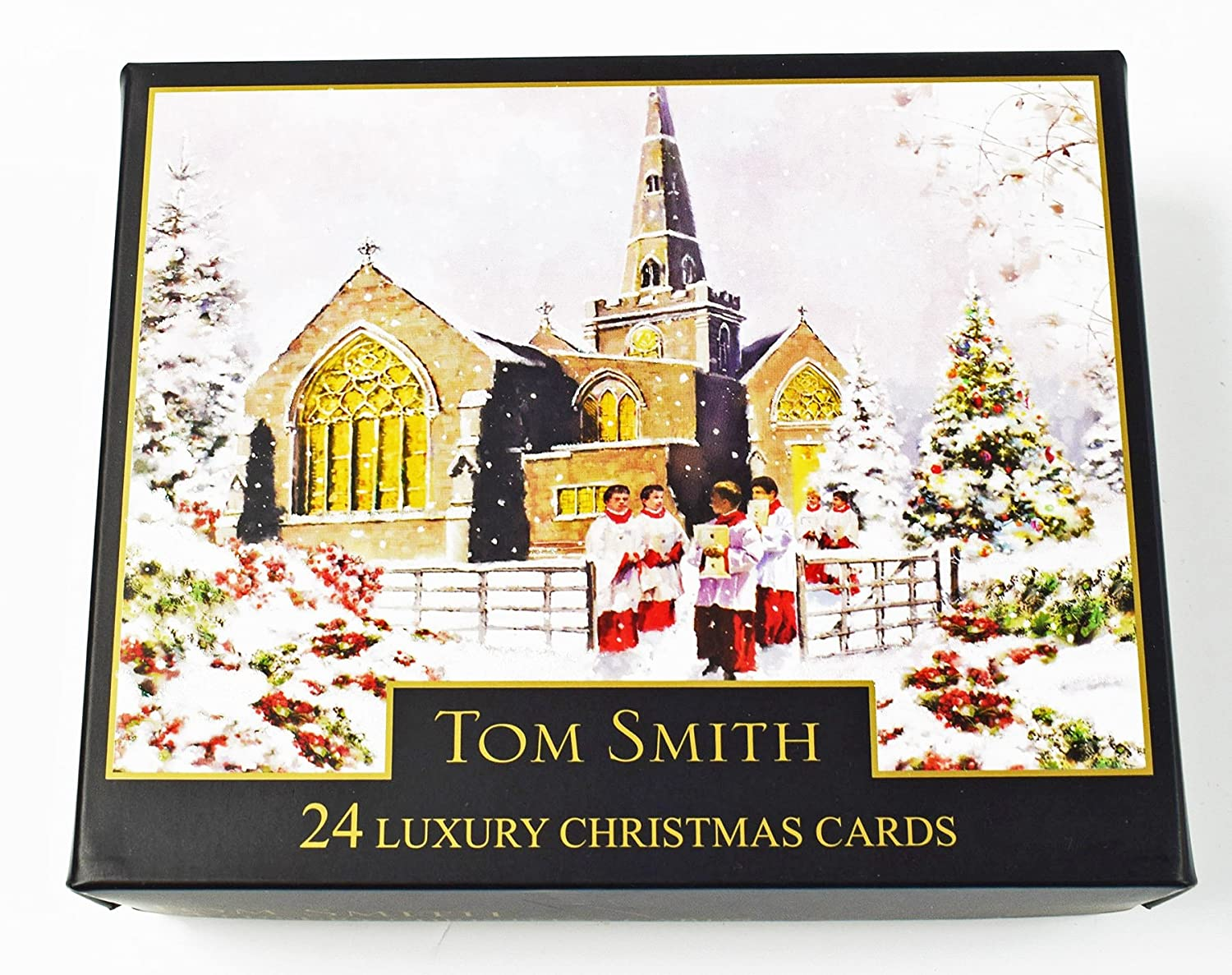 Christmas Cards Church Scene Bumper Boxed 24 Pack Luxury Xmas Tom