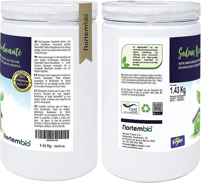 NortemBio Bicarbonato de Sodio 2x1.43kg, Insumo Ecológico de ...