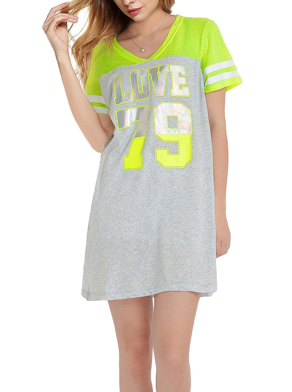 SWISSWELL Nightshirts For Women Plus Size Scoop Neck Sleep Tee Nightshirt