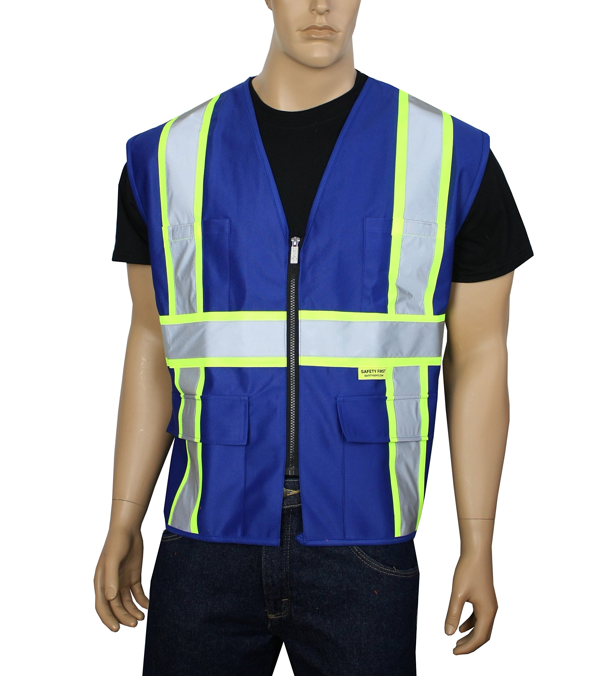 Safety Depot Breathable Safety Vest Multiple Colors Available, 4 Lower Pockets, 2 Chest Pockets with Pen Divider & High Visibility Reflective Tape P40 (Royal Blue, Large)