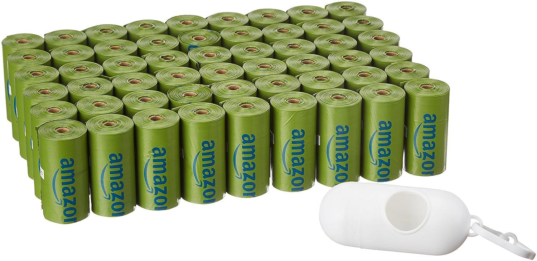 AmazonBasics - Bolsa mejorada para heces de perro con dispensador y pinza para correa - 810 unidades, polvo de talco 100354-TP