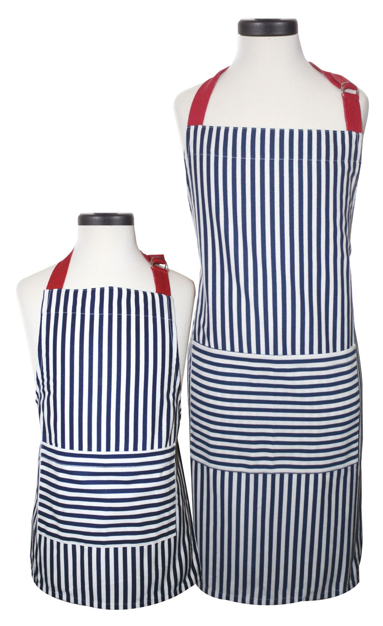 Handstand Kitchen Adult and Child Bold Navy Stripe 100% Cotton Apron Gift Set