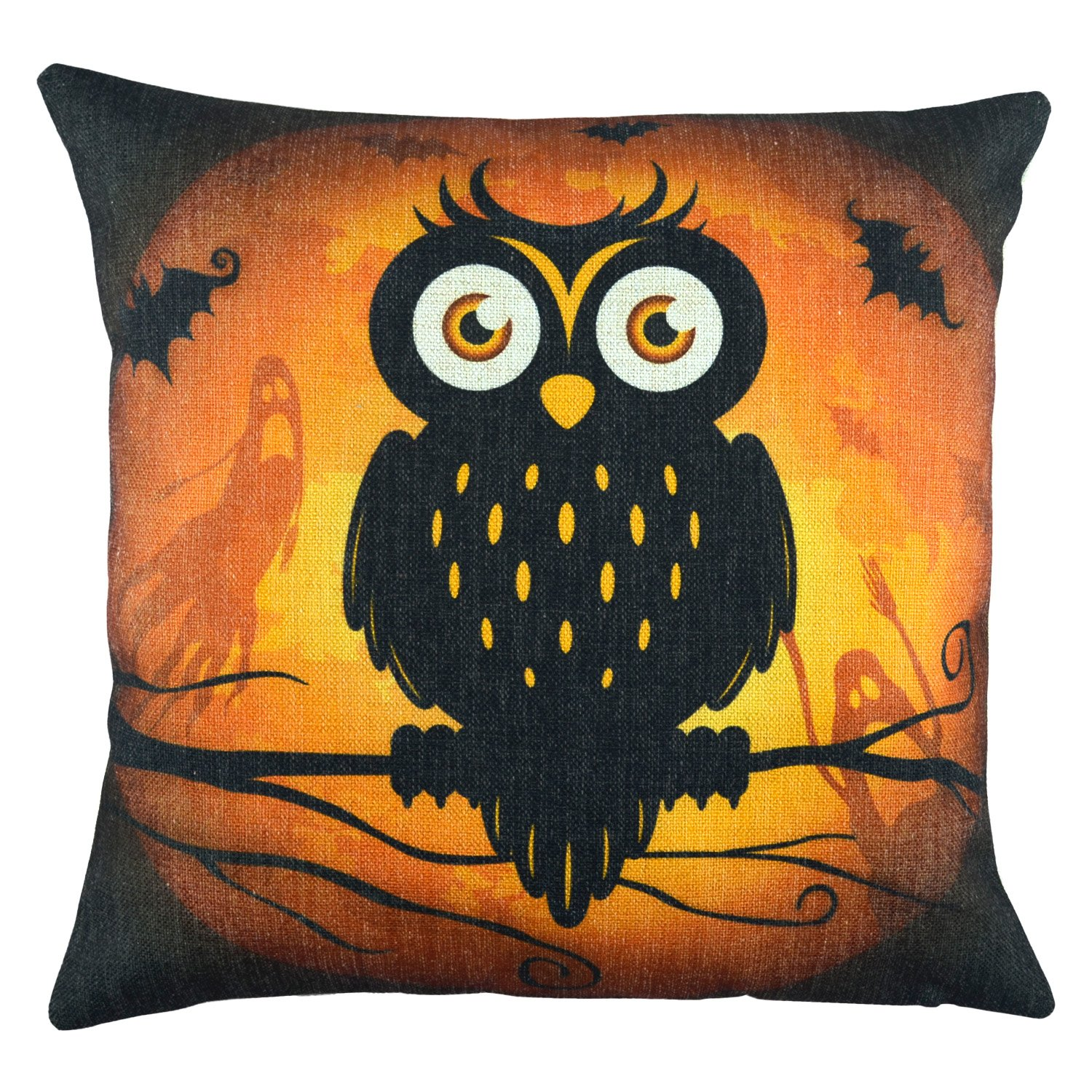 Halloween Cotton Linen Decorative Throw Pillow Cover