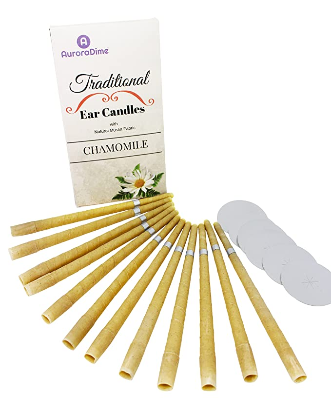 Bougies d'Oreille Traditionnelles Camomille pour Traitement & Aromathérapie ~ Pure cire d'abeille & Mousseline de Coton Naturel avec Filtres & Disques protecteurs ~ Apaisant et & Relaxant, Fait à