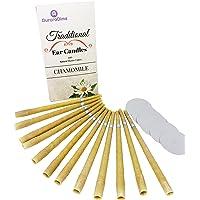 Bougies d'Oreille Traditionnelles Camomille pour Traitement & Aromathérapie ~ cire d'abeille & Mousseline de Coton Naturel avec Filtres & Disques protecteurs ~ Apaisant et & Relaxant, Fait à la Main, Pack de 12 (6 Paires) par AuroraDime