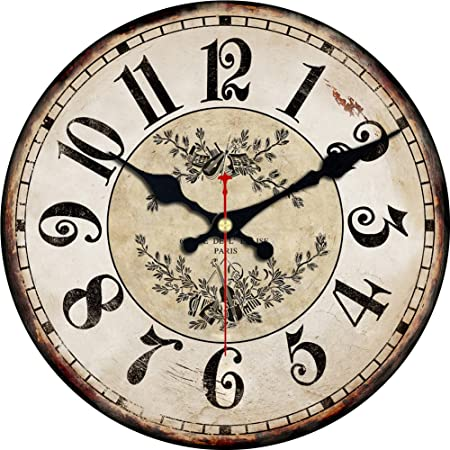 ShuaXin Wall Decor 16 Inch Retro Crown Pattern Designed Wooden Wall Clock Decorative Vintage Wall Watches Room Wall Art C-02