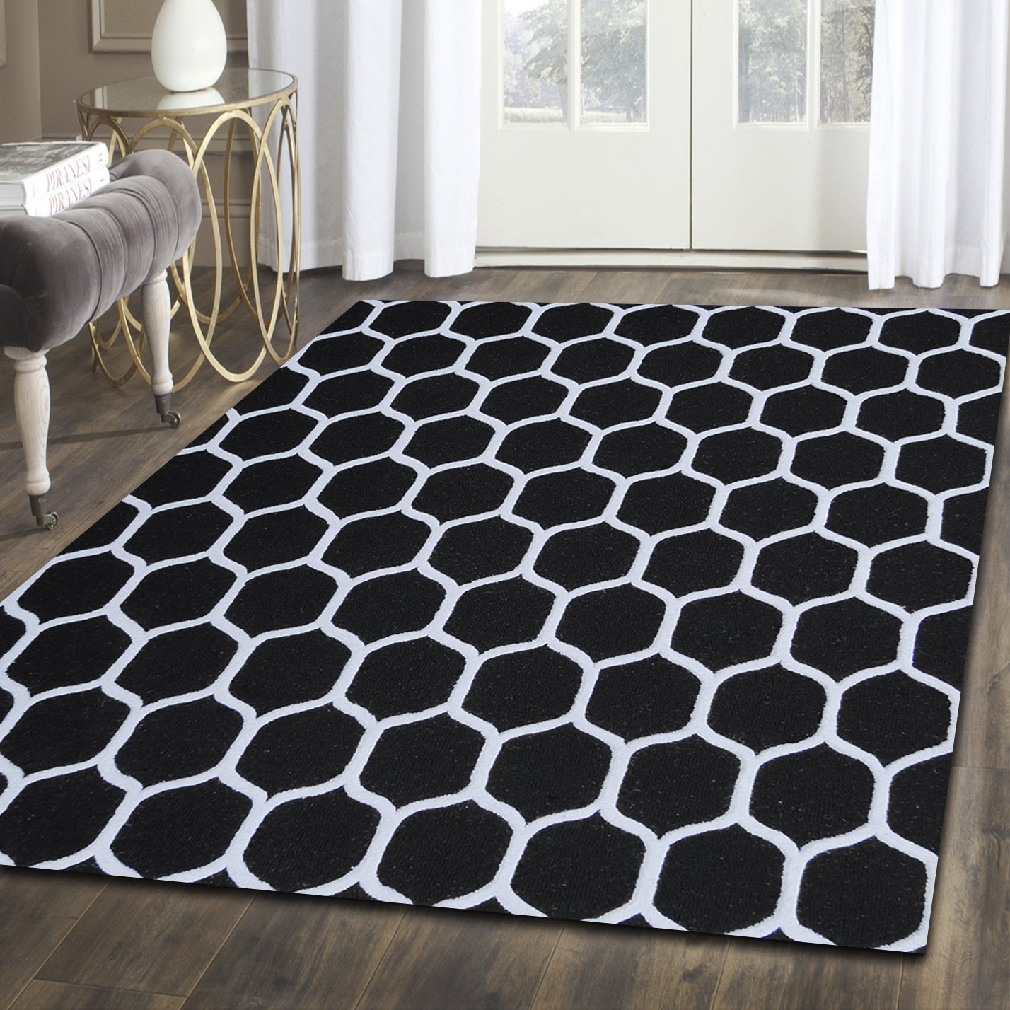 Superior Honeycomb Wool Rug, 100 Wool Pile with Cotton Backing, Hand Tufted Luxury Rug, Contemporary Geometric Trellis Pattern – Black Silver, 5 x 8