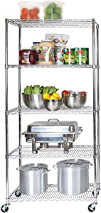 Seville Classics UltraDurable Commercial-Grade 5-Tier NSF-Certified Wire Shelving with Wheels, 36