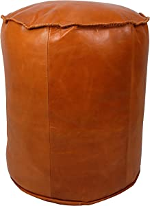 Marrakesh Gallery Moroccan Cylinder Pouf Cover - Cylindrical & Large Ottoman Leather Cover Stool - Bohemian Living Room Decor - Hassock & Ottoman Footstool - Unstuffed (Tan)