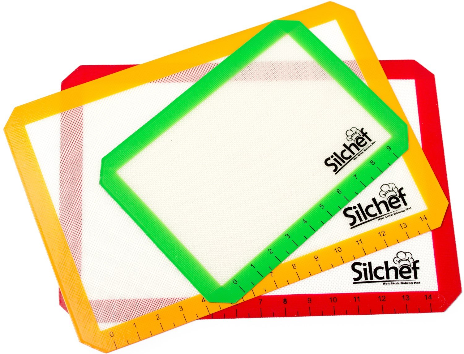 Silicone 3 Piece Non Stick Baking Mats with Measurements 2 Half Sheet Liners and 1 Quarter Sheet Mat, Professional Quality, Non Toxic and FDA Approved, Red, Yellow and Green Silchef SILCHEFBM03