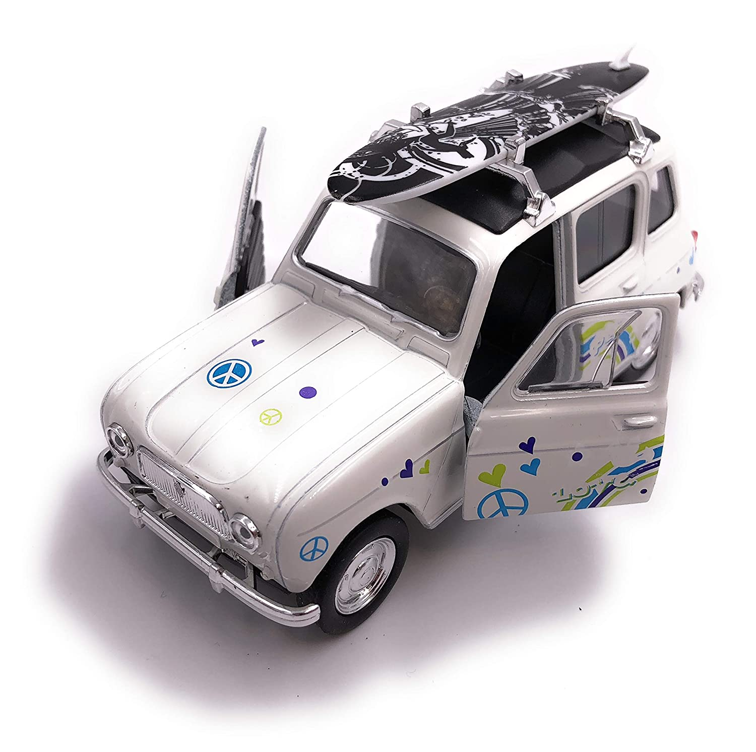 H-Customs Welly Renault 4 Surf Model Car Auto Prodotto con Licenza 1: 34-1: 39 Bianco hcmrenaul4surfweiss1810