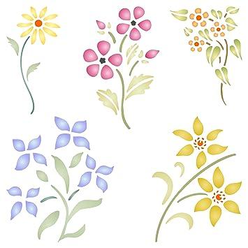 Plantilla de flores reutilizable, diseño floral, para pared, para manualidades, manualidades, etc. large: Amazon.es: Hogar