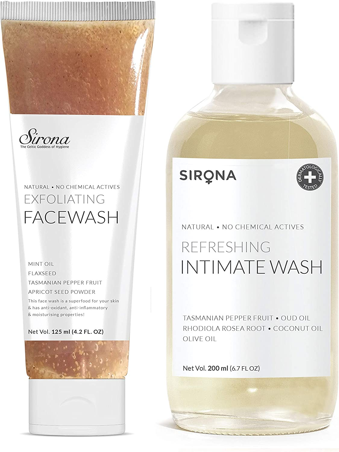 Sirona Natural Intimate Feminine Hygiene Wash - 6.7 Fl Oz   No Chemical, No Irritation + Natural Exfoliating Face Wash - 4.2 Fl Oz (with Apricot, Flax-Seed Extracts & Mint Oil)