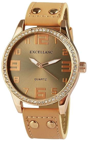 XXL Reloj marrón oro analógico para mujer, diseño de piel Reloj de pulsera