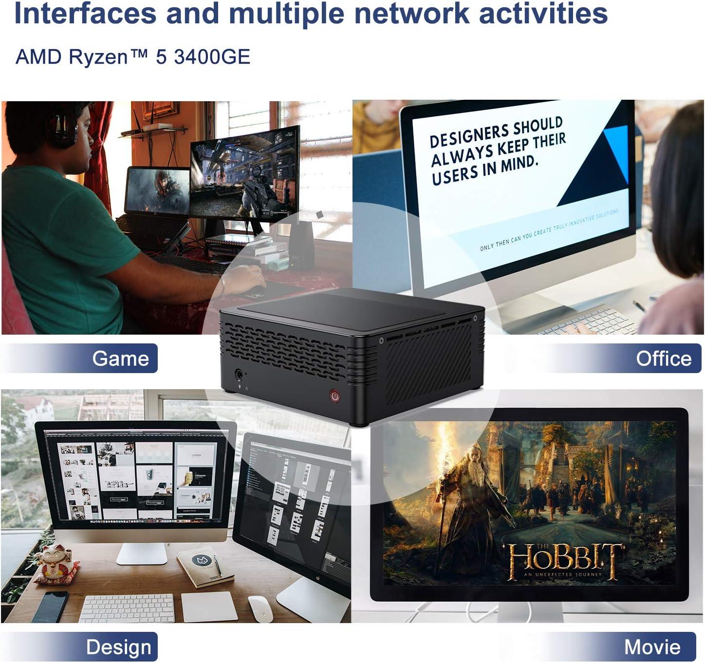 Mini PC, procesador AMD Ryzen 5 3400GE 16 GB DDR4 / 256GB SSD Mini computadora de Escritorio con Windows 10 Pro, conexión HDMI y DP, BT 5.1, USB 3.0 * ...