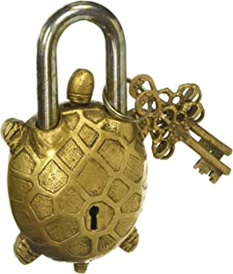 PARIJAT HANDICRAFT Functional Brass Beautiful Padlocks with Two Keys Garden Lock Functional Brass Turtle Padlock 5.5