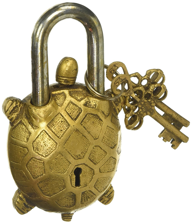 PARIJAT HANDICRAFT Functional Brass Beautiful Padlocks with Two Keys Garden Lock Functional Brass Turtle Padlock 5.5'' with Two Keys