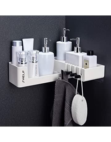 Corner Shelf 2 Pack Vailge Shower Shelf No Drilling Shower Storage Space Aluminum Bathroom Shelves Black Shower Caddy Corner Shelf Wall Mounted Self Adhesive Shower Rack with 2 Hooks