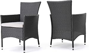 Christopher Knight Home 346205 Clementine Outdoor Wicker Dining Chairs (Set of 2), Grey