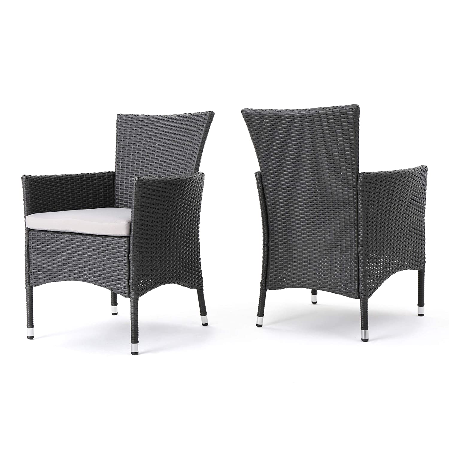 Christopher Knight Home Clementine Outdoor Wicker Dining Chairs Set of 2 , Grey