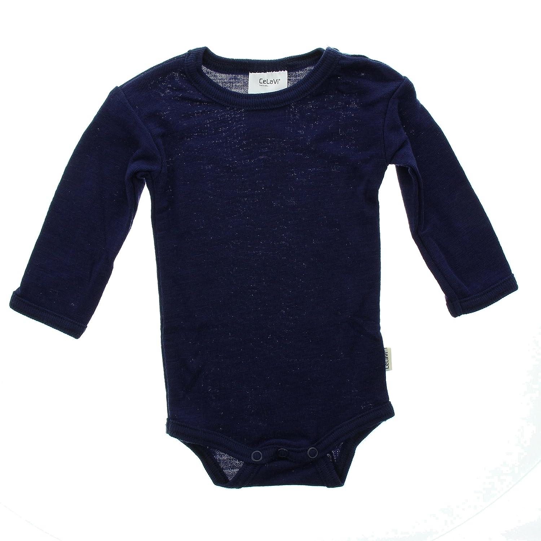 Celavi Baby Girls Body Long Sleeve Coloured Wool Blouse Blue (Dark Navy) 50 cm 1468