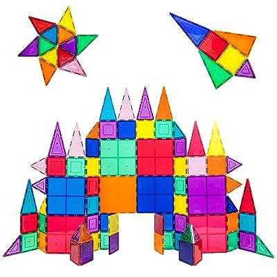PicassoTiles 100 Piece Set 100pcs Magnet Building Tiles Clear Magnetic 3D Building Blocks Construction Playboards, Creativity Beyond Imagination, Inspirational, Recreational, Educational Conventional: Toys & Games
