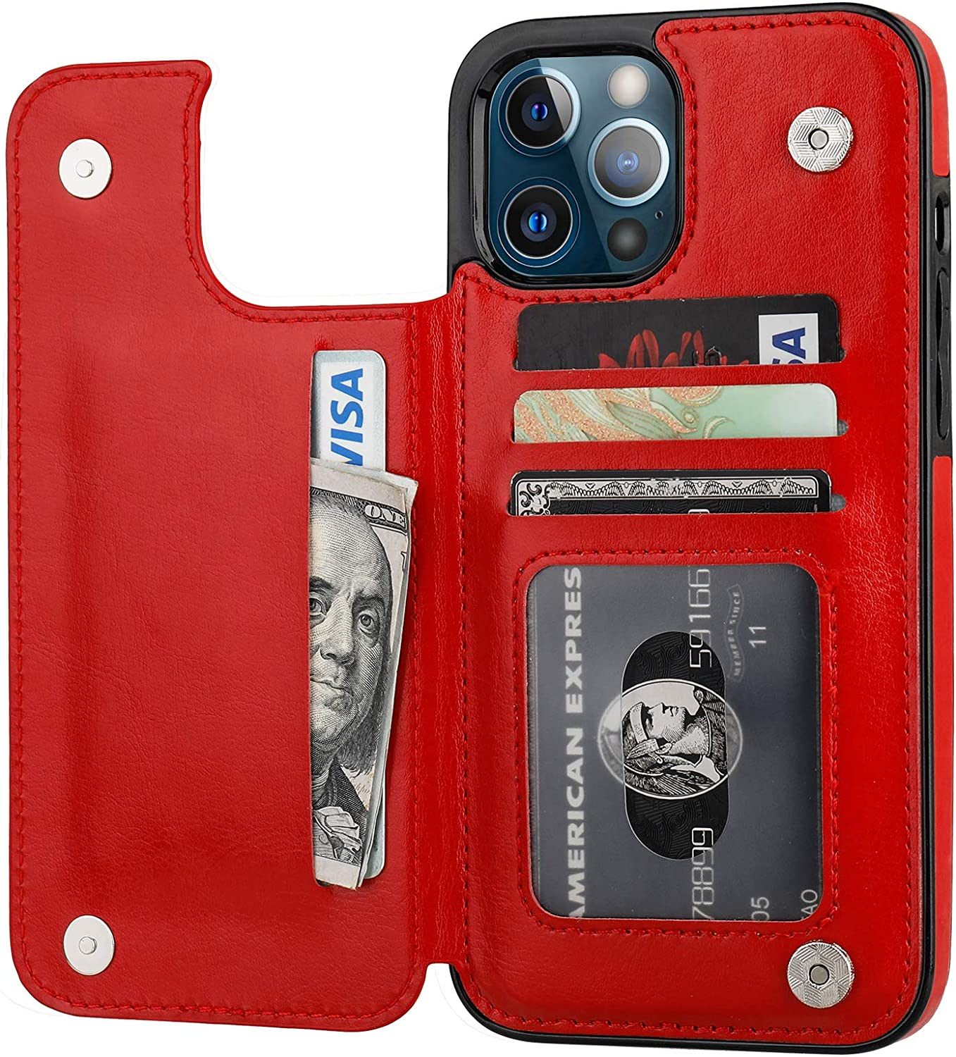 ONETOP Compatible with iPhone 12 Pro Max Wallet Case with Card Holder,PU Leather Kickstand Card Slots Case, Double Magnetic Clasp and Durable Shockproof Cover 6.7 Inch(Red)