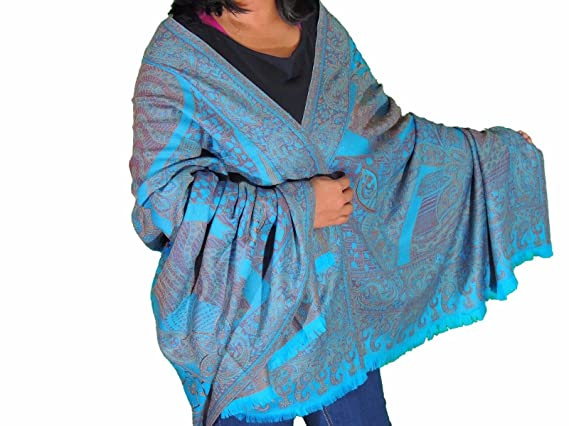 8475d4de2a5 NovaHaat Blue Wool Embroidery Formal Shawl Ladies Evening Dress Wrap Afghan  80