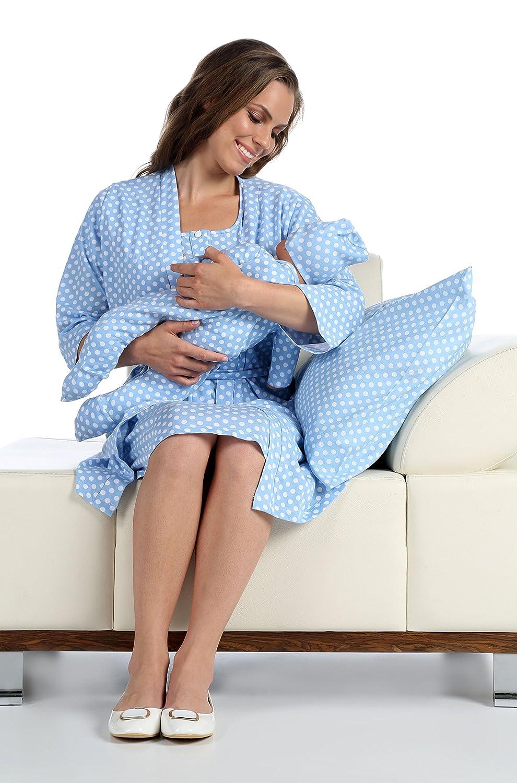 Pamuku 5 Piece Maternity & Nursing Pajama Set with Baby Footie ...